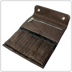 クロムハーツ財布(ChromeHearts)ウェーブ・ウォレット・クロスボタン・メタリック・ブロンズ・レザー(メンズ)(長財布)