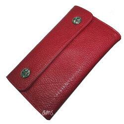 クロムハーツ・財布(Chrome・Hearts)ウェーブ・ウォレット・クロスボタン・レッドミディアムレザー(クロム・ハーツ)(長財布)