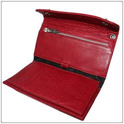 クロムハーツ財布(CHROMEHEARTS)ウェーブクロスボタンレッドミディアムレザー(楽ギフ_包装)