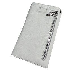 クロムハーツ・財布(Chrome・Hearts)ウェーブ・ウォレット・クロスボタン・ホワイトヘビーレザー(クロム・ハーツ)(長財布)