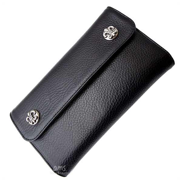 クロムハーツ 財布(Chrome Hearts)ウェーブ・ウォレット・BSフレアボタン・ブラックヘビーレザー(メンズ)(クロム・ハーツ)(長財布)