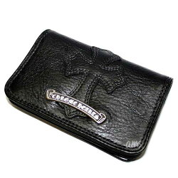 クロムハーツ財布(ChromeHearts)カードケース#2・GRMT/スクロール・セメタリーレザーパッチブラックヘビーレザー・ウォレット(メンズ)(クロム・ハーツ)(長財布)