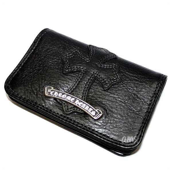 クロムハーツ 財布(Chrome Hearts)カードケース#2・GRMT/スクロール・セメタリーレザーパッチブラックヘビーレザー・ウォレット(メンズ)(クロム・ハーツ)(長財布)
