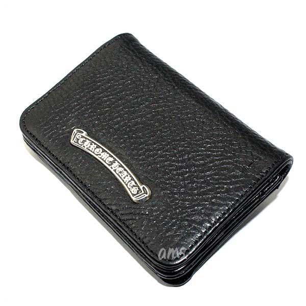 クロムハーツ 財布(Chrome Hearts)カードケースV1・3ポケットワイド・スクロールブラック・ヘビーレザーウォレット(メンズ)(クロム・ハーツ)(長財布)
