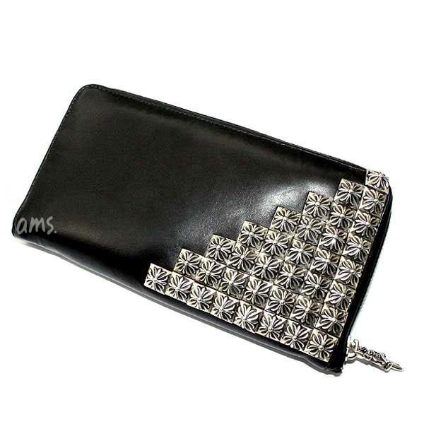 クロムハーツ 財布(Chrome Hearts)REC・F・ZIP#2・ピラミッドコーナー・ボックスクロスブラック・ライトレザー・ウォレット(メンズ)(クロム・ハーツ)(長財布)