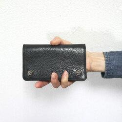 クロムハーツ財布(ChromeHearts)1ジップ・クロスボタンブラック・ヘビーレザーウォレット(メンズ)(クロム・ハーツ)(長財布)