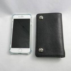 【クロムハーツ財布】CHROMEHEARTS/クロムハーツウォレット-1ジップ・BSフレアボタン・ブラック・レザー