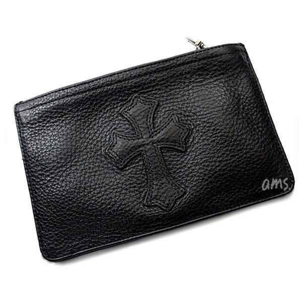 クロムハーツ 財布(Chrome Hearts)ウォレット ジッパーチェンジパース #2 ブラック ヘビーレザー セメタリーパッチ (メンズ)(長財布)