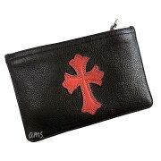 クロムハーツ財布(ChromeHearts)ウォレットジッパーチェンジパース#2ブラックヘビーレザーw/レッドセメタリークロスパッチ