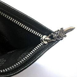 クロムハーツ財布(ChromeHearts)ウォレットジッパーチェンジパース#2リップ&タンパッチ(ローリングストーンズ)ブラックヘビーレザー(小銭入れ)(コインケース)