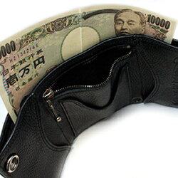 クロムハーツ財布(ChromeHearts)3フォールド・クロスボタンブラック・ヘビーレザーウォレット(メンズ)(クロム・ハーツ)(長財布)