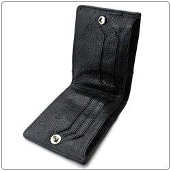 クロムハーツ財布(ChromeHearts)ウォレット・キャッシング・イン・ブラック・ヘビーレザー(メンズ)セメタリーパッチ(二つ折り)