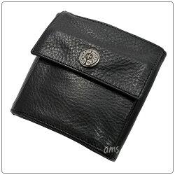 クロムハーツ財布(ChromeHearts)ウォレット・トゥフェイス・ブラック・ヘビーレザー・FRNTクロスボタン/BCKホースシューボタン・w/グロメット(3つ折り)