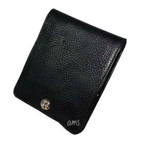 クロムハーツ 財布(Chrome Hearts)ワンスナップ・クロスボタンブラック・ヘビーレザーウォレット(メンズ)(クロム・ハーツ)(長財布)