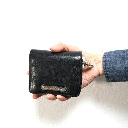 クロムハーツ財布(ChromeHearts)スクエア・ジップ・ビル・ブラックレザーウォレット(メンズ)(クロム・ハーツ)