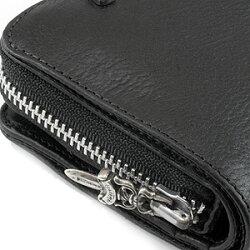 クロムハーツ財布(ChromeHearts)スクエア・ジップ・ビル・ブラックレザーウォレット(メンズ)(クロム・ハーツ)(長財布)