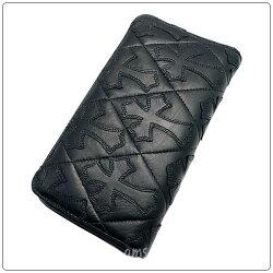 クロムハーツ財布(ChromeHearts)REC・F・ZIP#2・キルティングセメタリークロスブラック・ライトレザー(メンズ)(クロム・ハーツ)(長財布)
