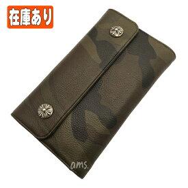 クロムハーツ 財布(Chrome Hearts)ウェーブ・ウォレット・クロスボタン・タンクカモ・レザー (クロム・ハーツ)(長財布)