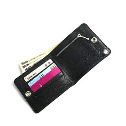 クロムハーツ・財布(Chrome・Hearts)ワンスナップ・クロスボタンブラック・ヘビーレザーウォレット(コンパクト)(メンズ)(クロム・ハーツ)(長財布)