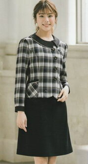 The office uniform uniform Lady's jacket jacket A-line skirt top and bottom set knit (アンジョア) four season