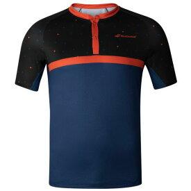 [USサイズ]バボラ(Babolat) 2020 FW メンズ COMPETE(コンピート) ヘンリーネック半袖ポロシャツ 2MF20021-2018 ブラック×エステートブルー(20y9m)[次回使えるクーポンプレゼント]
