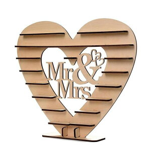 【木製ディスプレイラック チョコレートホルダー】 ウェディング カップル ショップ ハート型 愛 バーチ 組み立て式