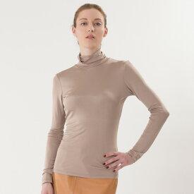 シルク 100% 胸パット付きタートルネック 長袖/la sakura(ラ サクラ) 正絹 シルクスムース ブラトップ ノンワイヤーシルクインナー 絹 シルク下着
