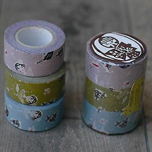 日本製 倉敷意匠計画室 おんなの子 マスキングテープ 3色セット 24mm 45322-02 [masking tape ラッピング 幅広 和紙テープ デコレーション コラージュ シール ラッピングテープ かわいい]