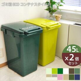【メーカー直送】ゴミ箱 45l eco コンテナスタイル 2個セット 日本製[ ごみ箱 45リットル ダストボックス キッチン 分別 スリム おしゃれ ふた付き フタ付き 大容量 屋外 かわいい おしゃれ エココンテナスタイル 送料無料 box]