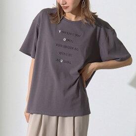 【50%OFF】Alluge アルージュ 強撚コットンエンボスプリントTシャツ レディース 春夏 トップス Tシャツ アッシュブラック/オフホワイト onesize tシャツ