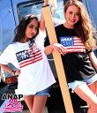 ANAP 25th アメリカンフラッグロゴTシャツ【アナップ ANAP レディース トップス ブラック ホワイト 黒 白 25 th アメリカン フラッグ ロゴ...