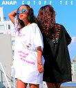 【10%OFF】ダメージチュニックTシャツ【アナップ ANAP レディース トップス 黒 白 ブラック ブラック/ホワイト ホワ…
