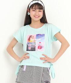 【50%OFF】ANAP KIDS アナップキッズ フォトプリントサイド結びTシャツ tシャツ ロゴt ティーシャツ ガールズ 女の子 半袖 フォトプリント S/M/L サックスブルー/ホワイト