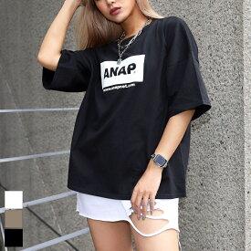 【50%OFF】ANAP アナップ ANAPロゴオーバーサイズTシャツ レディース 春夏 トップス Tシャツ オフホワイト/グレージュ/ブラック onesize