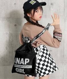 【10%OFF】ANAP GiRL アナップガール ロゴテープ2WAYナップサック ナップザック 体操着袋 体操服入れ 体操服袋 女の子 ブラック/ラベンダー
