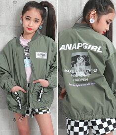 【50%OFF】ANAP GiRL アナップガール バックフォトポケット付きブルゾン ma-1 ジャケット ジャンパー 女の子 カーキ/ブラック S/M