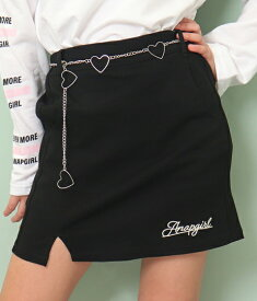 【60%OFF】ANAP GiRL アナップガール ハートベルト付きスリットスカート スカート ミニスカート スカパン 女の子 ガールズ ベルト付 スリット ブラック S/M