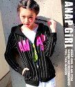 【50%OFF】ストライプパーカー【アナップガール ANAP GiRL ガール アウター キッズ女の子 ティーン 黒 白 赤 ブラック ホワイト レッド 春物 ...