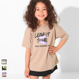 【50%OFF】ANAP KIDS アナップキッズ 吸水速乾手書きプリントビッグTシャツ キッズ 春夏 トップス Tシャツ チュニック オフホワイト/ブラック/ベージュ S/M/L tシャツ