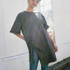 【10%OFF】ANAP アナップ フロントスリット刺繍チュニック レディース 春夏 トップス Tシャツ アッシュブラック/オフホワイト/グレージュ onesize