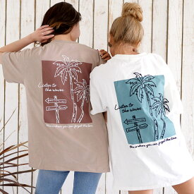 【20%OFF】anap mimpi アナップミンピ USAコットンパームツリー刺繍ビッグTシャツ レディース 春夏 トップス Tシャツ グレージュ/ホワイト onesize tシャツ