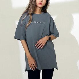 【45%OFF】ANAP アナップ 刺繍オーバーサイズTシャツ レディース 春夏 トップス Tシャツ ダークグレー/ピンク/ベージュ onesize