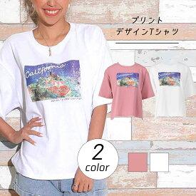 【30%OFF】anap mimpi アナップミンピ プリントデザインTシャツ tシャツ プリントtシャツ ティーシャツ レディース 春夏 半袖 フォトプリント オフホワイト/ピンク