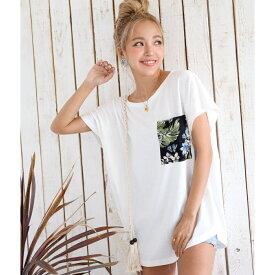 【10%OFF】anap mimpi アナップミンピ アロハポケットTシャツ レディース 春夏 トップス Tシャツ ダークグレー/ベージュ/ホワイト onesize