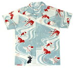 手ぬぐいアロハシャツ「江戸金魚づくし水色」