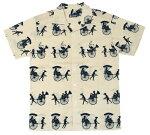 手ぬぐいアロハシャツ「人力車とパンダ紺」
