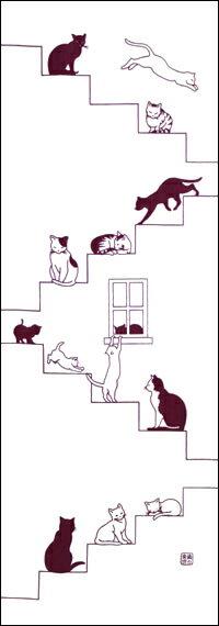 手ぬぐい「階段ネコ エンジ」猫/ネコ/ねこ/手拭/手拭い/てぬぐい