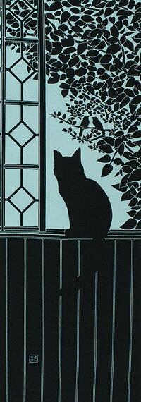 手ぬぐい「2階の猫 水色」ねこ/ネコ/窓辺【楽ギフ_包装】【楽ギフ_のし宛書】【楽ギフ_名入れ】/手拭/手拭い/てぬぐい