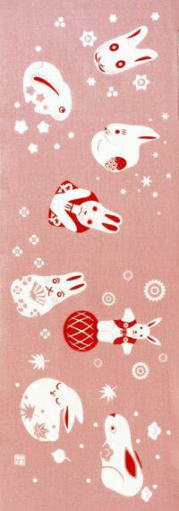 【8月10日販売開始】【2018年新作】手ぬぐい「てのひらうさぎ桃」ウサギ/兎/秋/お月見/おもちゃ/ギフト/手拭/手拭い/てぬぐい