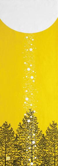 手ぬぐい「ダイヤモンドダスト 黄」冬/雪/結晶/手拭い/てぬぐい/tenugui